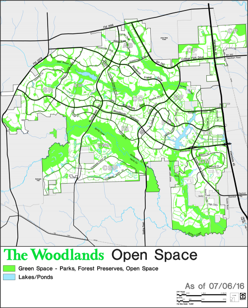 2016 map of The Woodlands showing open space such as green space, lakes, and ponds
