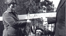 Cynthia Woods Mitchell cuts the ribbon marking opening day in The Woodlands on October 19, 1974.